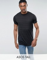 Asos TALL Longline T-Shirt With Self Sheer Stripe