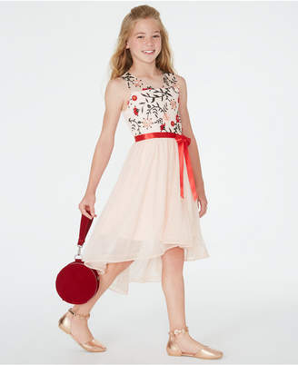 Sequin Hearts Big Girls Embroidered High-Low Dress