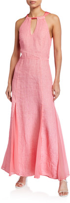 120% Lino Tie-Back Halter Maxi Dress w/ Godet-Skirt