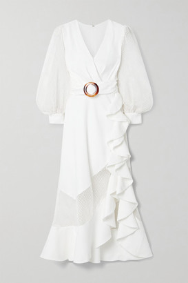 PatBO Belted Ruffled Woven And Cotton-blend Mesh Midi Dress - White