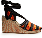 Balenciaga Bazar striped raffia-effect wedge espadrilles