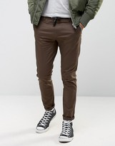 Asos Skinny Chinos with Reflective Detail And Shoelace Belt In Dark Brown