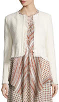 Derek Lam 10 Crosby Chevron Fringe Cropped Jacket, Cream