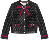 Gucci Quilted leather jacket with Web bows