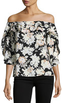 Collective Concepts Off-The-Shoulder Floral Top, Black/White