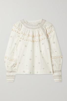 Ulla Johnson Tana Embellished Cotton-poplin Blouse - Off-white