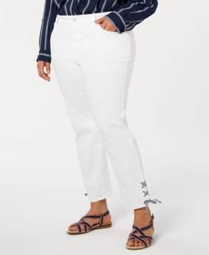 Charter Club Plus Size Tie-Hem Skinny Jeans, Created for Macy's