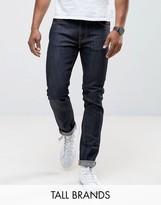 Nudie Jeans TALL Ecru Embro Thin Finn Slim Fit Jeans in Organic Dry