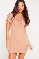 Missguided Petite Exclusive Lace Up Front Shift Dress Nude