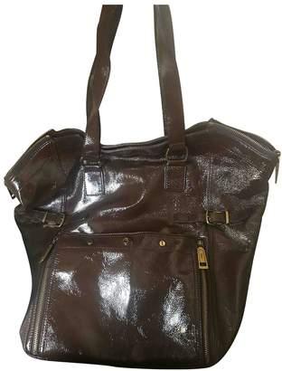 Saint Laurent Downtown Brown Patent leather Handbags