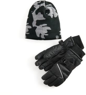 ZeroXposur Boys 8-20 Reversible Camo Beanie Hat & Gloves Set