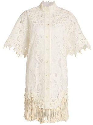 Zimmermann Wavelength Fringe Silk Shirtdress