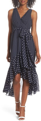 Eliza J Polka Dot High/Low Hem Midi Dress