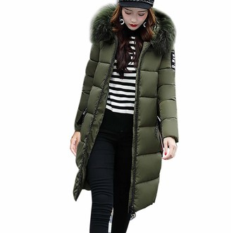 Tuduz Outerwear TUDUZ Women Winter Padded Warm Slim Fit Hooded Long Down Jacket Coat Casual Thicken Parka Outwear(Red UK(Bust)-M/CN-XL)