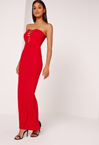 Missguided Bandeau Plunge Crepe Maxi Dress Red