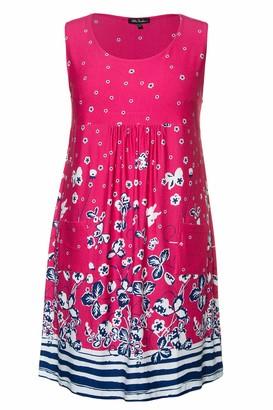 Ulla Popken Women's Plus Size Pretty Print Knit Tank Tunic Dress Azalea Red Multi 28/30 747520 53-54+