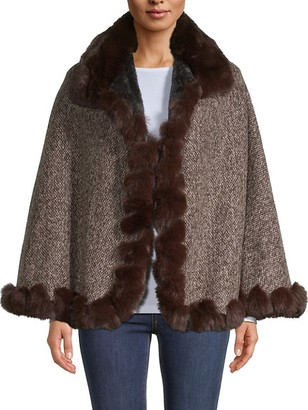 BCBGMAXAZRIA Faux Fur-Trimmed Poncho