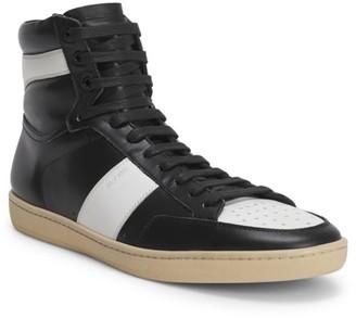 Saint Laurent Leather Colorblock High-Top Sneakers