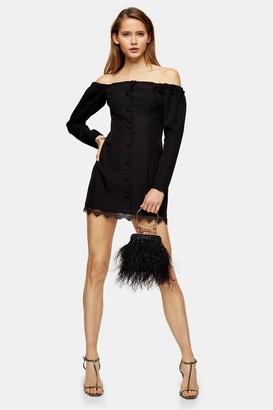 Topshop Womens Black Lace Bardot Mini Dress - Black