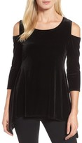 Chaus Women's Cold Shoulder Velvet Top