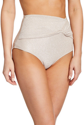Jonathan Simkhai Metallic Twist-Front High-Waist Bikini Bottom