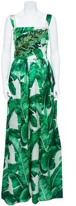 Dolce & Gabbana Green & White Palm Leaf Print Silk Embellished Gown M