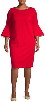 Calvin Klein Collection Plus Bell-Sleeve Sheath Dress