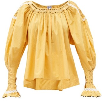 Thierry Colson Valeska Smocked Cotton-voile Blouse - Yellow