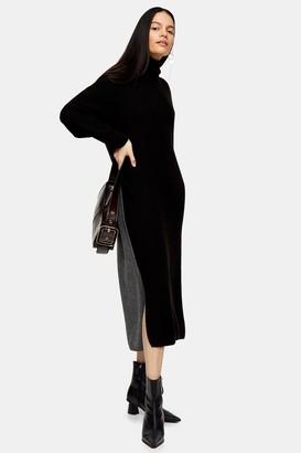 Topshop Black and Charcoal Grey Colour Block Maxi Dress