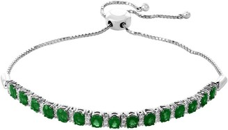 Effy 14K White Gold Diamond & Emerald Bracelet