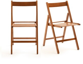 La Redoute Interieurs Set of 2 Yann Solid Beech Folding Chairs