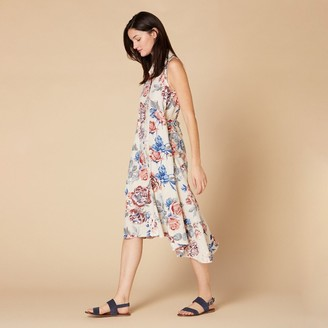 Derhy Sleeveless Midi Dress in Cotton/Linen Floral with Button Fastening and Tie-Waist