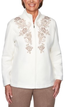 Alfred Dunner First Frost Embroidered Zippered Jacket