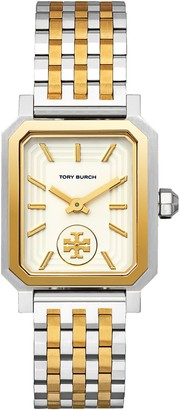 Tory Burch Robinson Watch, Two-Tone Gold/Stainless Steel/Cream, 27 X 29 MM