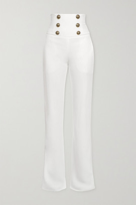 Balmain Button-embellished Crepe Wide-leg Pants - White