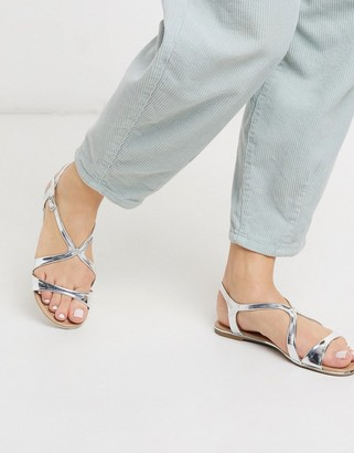 Call it SPRING agruila strappy flat sandals in silver