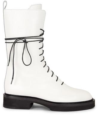 KHAITE Conley Lace Up Combat Boots in White | FWRD