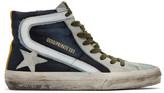 Golden Goose Blue and Grey Denim Slide Sneakers