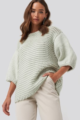 NA-KD Detail Neck Short Sleeve Sweater Blue