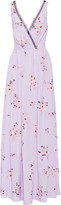 Nina Ricci Tulle-trimmed floral-print silk crepe de chine gown