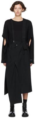 Yohji Yamamoto Regulation Black Denim Suspender Skirt