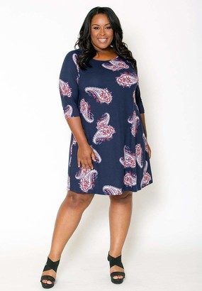 Sealed With A Kiss Sealed w/ A Kiss Isabella Swing Dress in Isabellaswing Navy Blue Paisley Size 2X