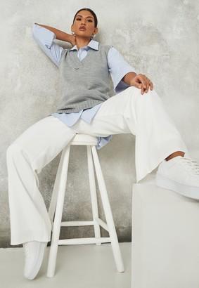 Missguided Grey V Neck Sleeveless Knit Jumper Vest
