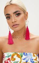 PrettyLittleThing Orange Heart Tassel Earrings