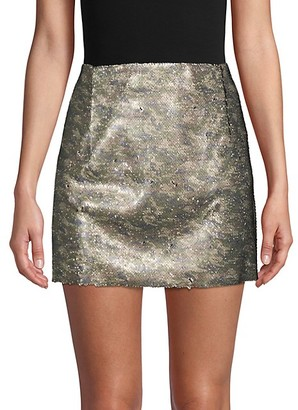 Free People Skinny Sequin Camo Mini Skirt
