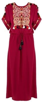 Figue Naya Embroidered Silk-georgette Dress - Pink