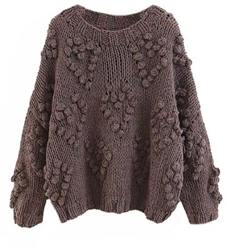 Goodnight Macaroon 'Fia' Pom Pom Chunky Knit Sweater (3 Colors)