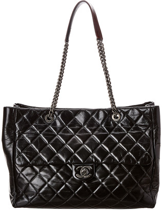 Chanel Black Quilted Lambskin Leather Flap Tote
