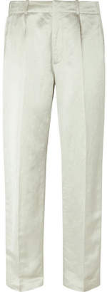 Wide-Leg Metallic Linen-Blend Trousers