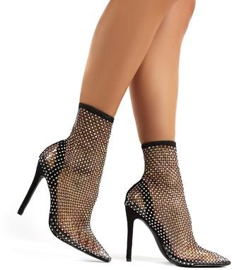 Public Desire Diamond Diamante Fishnet Stiletto High Heels